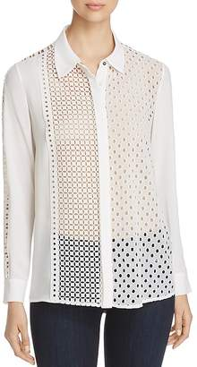 T Tahari Helene Mixed Eyelet Embroidered Blouse
