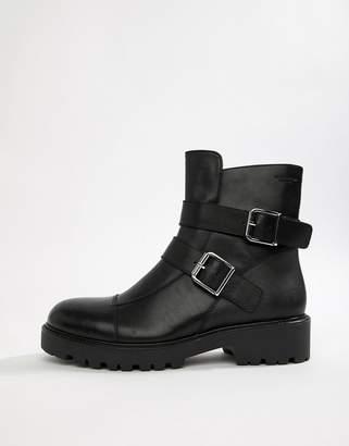 Vagabond Kenova black leather chunky biker boots