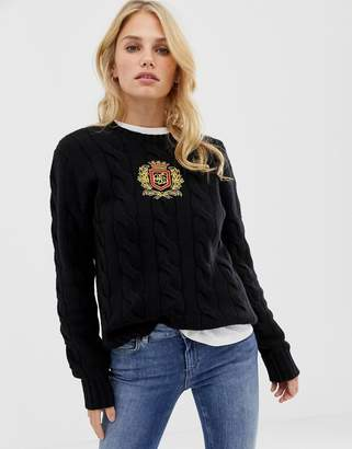Polo Ralph Lauren crew neck cable knit jumper with crest