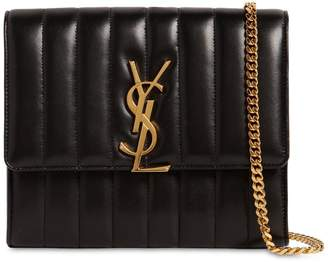 5e4569d2438f Saint Laurent Vicky Quilted Leather Chain Wallet Bag