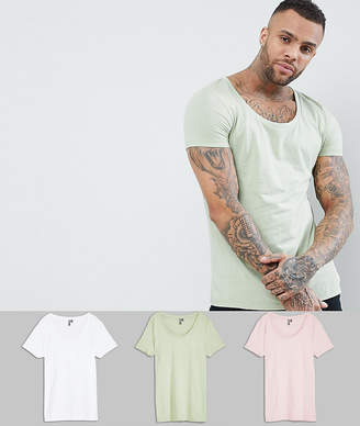 Asos Design T-Shirt With Deep Scoop 3 Pack Save
