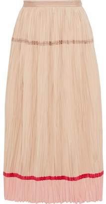 Agnona Silk-Paneled Plissé Cotton-Poplin Midi Skirt