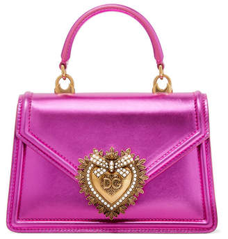 Dolce & Gabbana Devotion Mini Embellished Metallic Leather Tote - Magenta