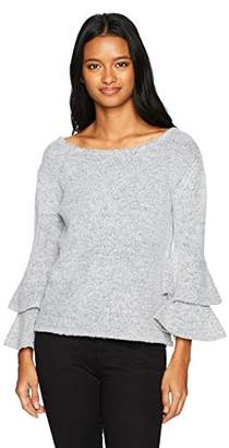Love by Design Junior's Crew Neck Double Ruffle Sleeve Pullover in Mossy Yarn