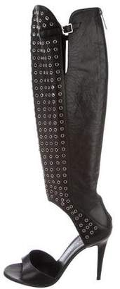 Tamara Mellon Grommet-Embellished Knee-High Sandals
