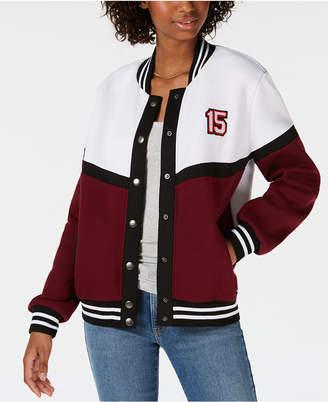 Say What Juniors' Letterman Snap Jacket