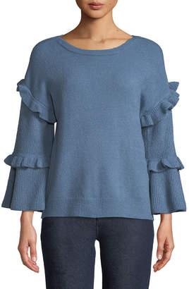 Neiman Marcus Ruffle-Tiered Bell-Sleeve Sweater