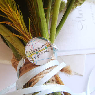 EVY Designs Personalised Location Map Bridal Bouquet Charm