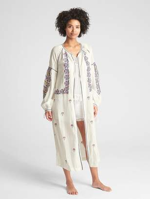 Gap Dreamwell Crinkle Embroidered Robe