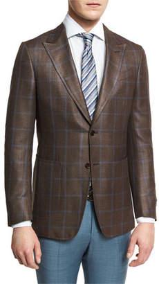 Ermenegildo Zegna Windowpane Check Two-Button Sport Coat, Brown/Blue $2,595 thestylecure.com