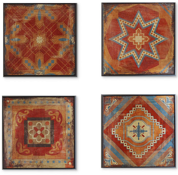 Madison Park Moroccan Tile 4-Pc. Gel-Coated Deco Box Print Set