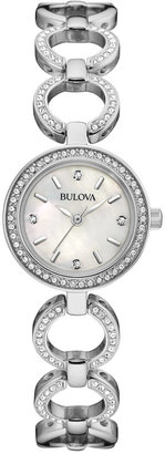 Bulova Women's Crystal Accent Stainless Steel Bangle Bracelet Watch and Necklace Box Set 30mm 96X137 $325 thestylecure.com