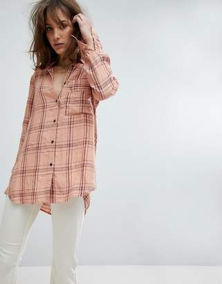 Free People No Limits Plaid Buttondown Shirt