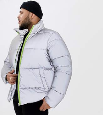 Asos DESIGN Plus reflective puffer jacket