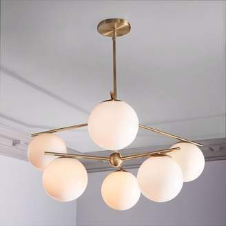 west elm Sphere + Stem 6-Light Chandelier - Brass