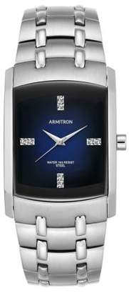 Swarovski Armitron Men's Crystal-Accented Silver-Tone Blue-Degrade Dial Dress Watch