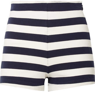 MDS Stripes - Lucy Striped Cotton-jersey Shorts - Navy