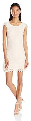 My Michelle Sequin Hearts Junior's All Over Lace Dress with Cap Sleeves