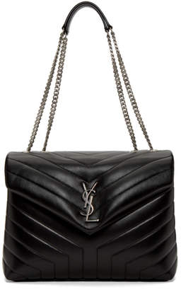 Saint Laurent Black and Silver Medium Loulou Chain Bag