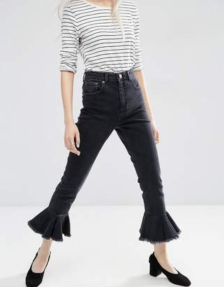 Asos FARLEIGH High Waist Slim Mom Jeans in Washed Black with Flared Frill Hem