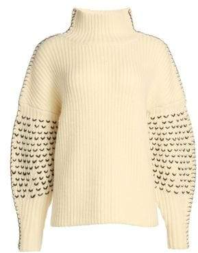 Tanya Taylor Alice Embroidered Turtleneck Knit Wool Sweater
