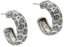JAI Sterling Leopard Texture Hoop Earrings