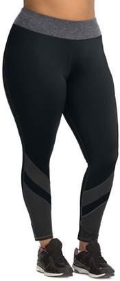 Hanes Women's Plus Size Active Full Length Pieced Mesh Legging