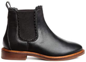 H&M Leather jodhpur boots - Black