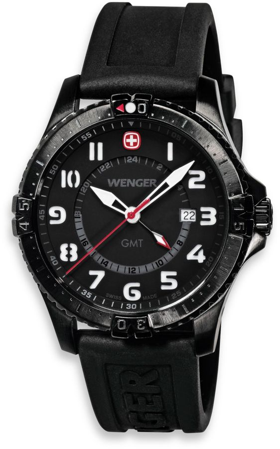 Wenger Men's Squadron GMT Black PVD Case and Black Rubber Strap Watch