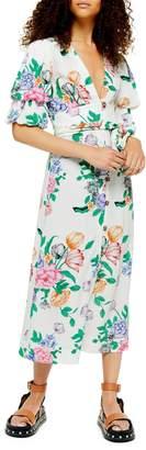 Topshop PETITE Frieda Floral-Print Puff-Sleeve Midi Dress