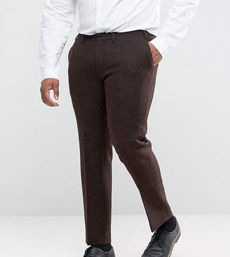 Asos Plus Slim Suit Pants In 100% Wool Harris Tweed Herringbone In Brown