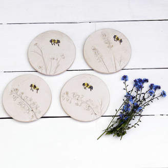 Bumble Bee Juliet Reeves Designs Bumblebee And Wild Flower Ceramic Coasters