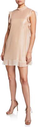 RED Valentino Satin Shimmer Ruffle-Trim Mini Dress