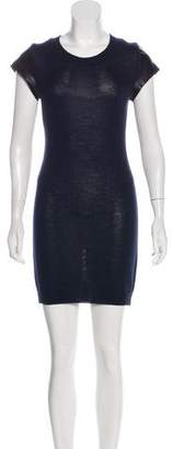 Susana Monaco Leather-Paneled Knit Dress