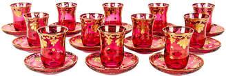 One Kings Lane Vintage Turkish Teacups & Saucers - Set of 12