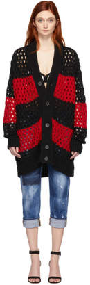 DSQUARED2 Black and Red Striped Knit Cardigan