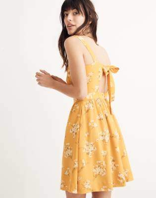 Madewell Silk Fleur Bow-Back Dress in Butterfly Garden