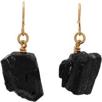 Märta Larsson gold plated The Raw One Black Tourmaline earrings
