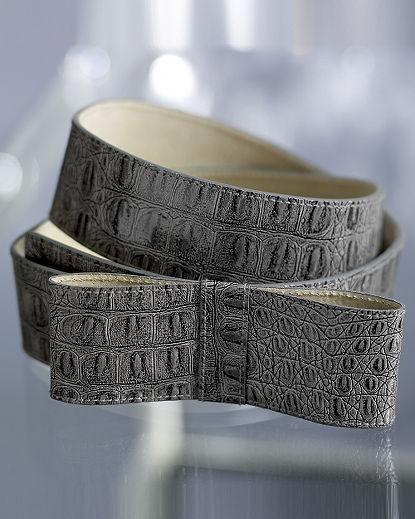 Croco-Embossed Bow Belt