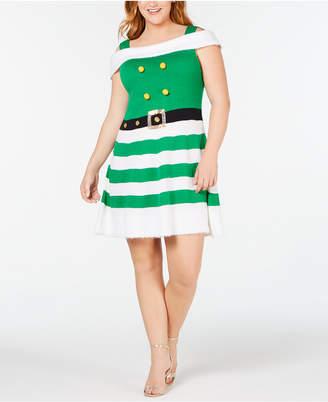 Planet Gold Trendy Plus Size Cold-Shoulder Elf Sweater Dress