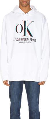 Calvin Klein Est. 1978 3D Logo Hoodie in Brilliant White | FWRD