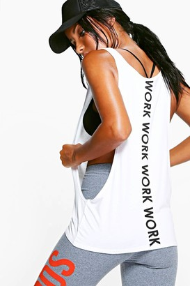 boohoo Fit Work Slogan Running Vest