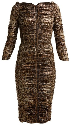 Dolce & Gabbana Leopard Print Lame Ruched Midi Dress - Womens - Leopard