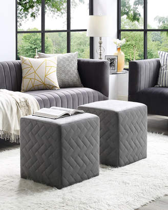 Inspired Home Velvet Brick-Quilted Ottoman Gray