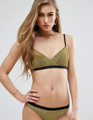 Asos Gold Metallic Picot Trim Underwired Bikini Top