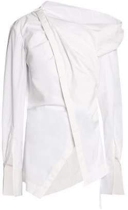 Oscar de la Renta Wrap-Effect Cotton-Blend Poplin Shirt