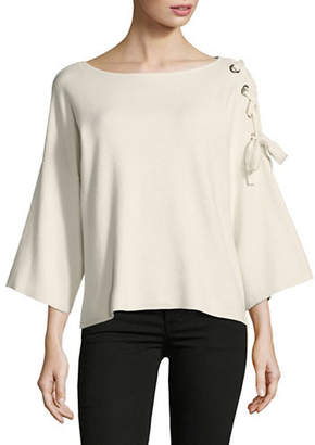 Vince Camuto Lace-Up Shoulder Bell-Sleeve Top