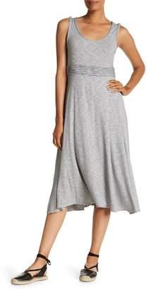 Max Studio Striped Piped Waist Midi Dress