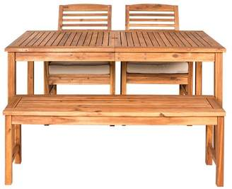 Walker Edison Acacia Wood Simple Patio 4-Piece Dining Set