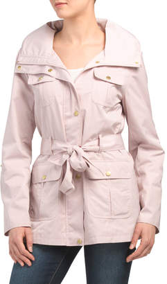 Belted Raincoat With Hood